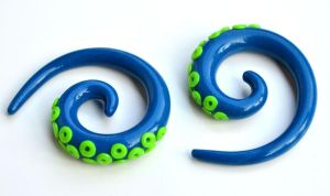 Tentacle Gauges in Blue and Green 002 by Dabstar