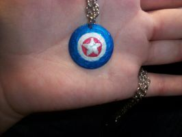 Captain America's shield necklace by QueenAliceOfAwesome