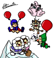 Balloon Fight with Some Guests by Lwiis64