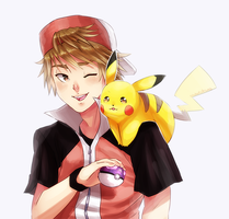 RED and PIKACHU by CthulhuFruitLoops