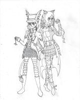 White Rabbit Maeve and Cheshire Cat Siobhan by fencergirl00