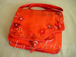 Red Leather Messenger Bag with Flowers by izasartshop