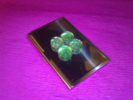 Card holder with green marbles (lucky clover) by mosquitone