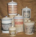 Vintage enamel ware pharmacy containers pots by grimdeva