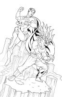 Goku Vs Superman inks..... by thelearningcurv