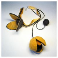 Felted Flower chocker orange by Amaltheea