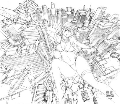 the attack of the giant woman pencils by paulobarrios