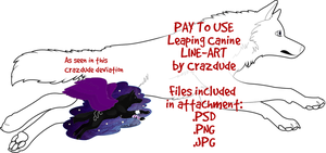 PAY TO USE Leaping Canine Line-art by Crazdude