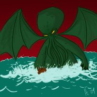 Cthullu Attacks a Boat by slackmatic