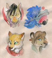 Some Silly heads by skulldog