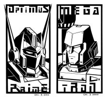 Optimus and Megatron by cwmodels