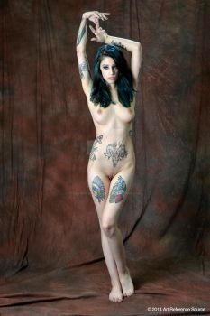 Stock:  Grace elegant nude with tattoos by ArtReferenceSource