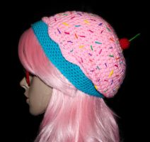 Cotton Candy Cupcake Slouchy Beret by rainbowdreamfactory