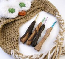 Driftwood Handle Crochet Hooks by Dynamicalley