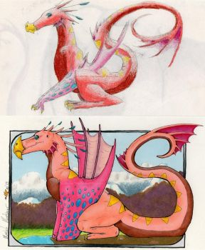 Before and After Colourful Wyverns by StarSeekerDragoness