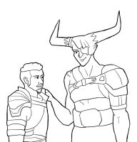 DAI: The Iron Bull and Krem, Assigned-Gender-Swap by sqbr