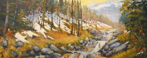 Larch Valley Stream by artistwilder