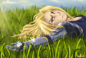 Lying in Grass [Art Trade] by FlorideCuts