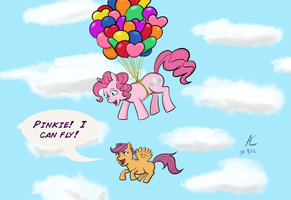 Pinkie Teaches Scootaloo to Fly (for Mawiisama) by Adan-Cricjer