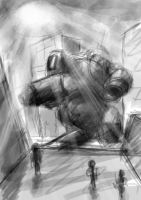 mech downtown sketch 1 by greensandsguy
