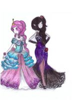 bubblegum and marceline-elegant dresses! by NENEBUBBLEELOVER