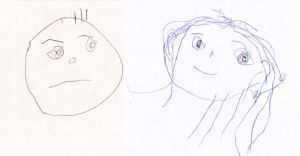FACES by my 3yr old daughter by Oshouki
