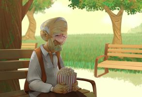 Old Man on a Bench by mendigo-amigo