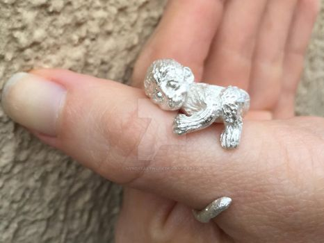 Handmade Cute Monkey Ring in Sterling Silver by WendysArtwork