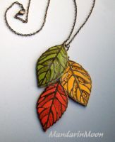 Falling Leaves Polymer Clay Necklace by MandarinMoon