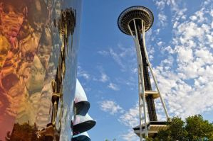 Space Needle Reflection by Moohoodles