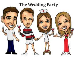 Wedding Party Caricature by raccoon-eyes