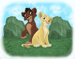 Kovu and Kiara by gillian-r