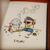 Caity and Squirtle 1 by CaityHallArt