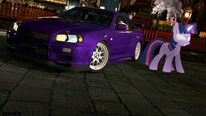 Twilight Sparkle with her Skyline R34 by nestordc