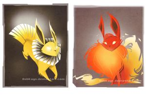 Flareon And Jolteon Doodles by AshKays