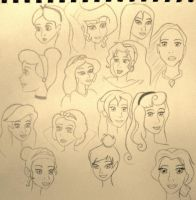 Disney Sketch Dump (Females) by Jinx-Clover