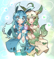 C: Glaceon and Leafeon by Kimmymanga