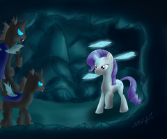 Rarity vs Changelings by WolfyPon