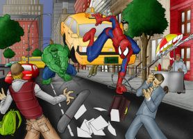Spiderman vs Hulk by Rosien-HoH