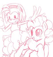 Amy Rose and Pinkie Pie sketch by AngelofHapiness