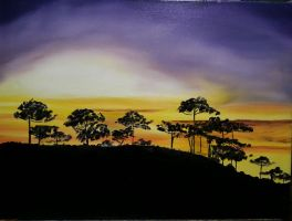 My painting of/ Araucaria sunset. by virnagray