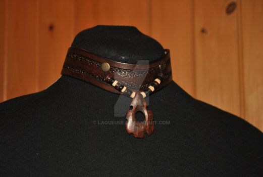 leather necklace choker tribal shaman by Lagueuse