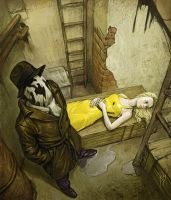 rorschach and girl by Waldemar-Kazak