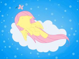 Fluttershy Laying On a Cloud by Gochure