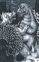 Godzilla Vs. Anguirus by KillustrationStudios