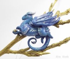 Royal blue mountain dragon necklace by AlviaAlcedo