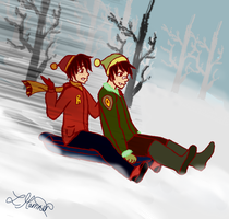 Winter Challenge- Day 7: Sledging - The Twins by SnowyMarriner
