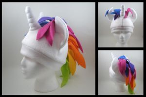 Rainbow unicorn pony hat by eitanya