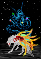 Amaterasu with Yomigami by Mamekui