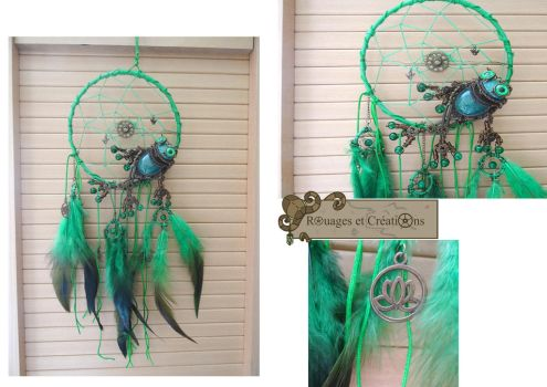 Frog dreamcatcher by Rouages-et-Creations